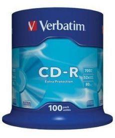Диск Verbatim CD-R 700Mb 52х 80min Cake 100 d.43411
