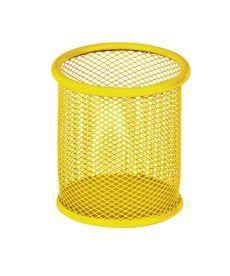Подставка для ручек круглая 90х90х100мм металлическая желтый