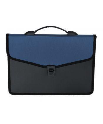 Портфель Buromax 32,5x24x3,5см 3 отд. пластиковый замок черный синий BM.3734-02