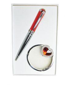 Набор подарочный Crystal: ручка шариковая + крючек д сумки красный