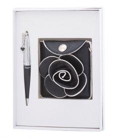 Набор подарочный Floret: ручка шариковая + кошелек для монет + зеркальце чёрный