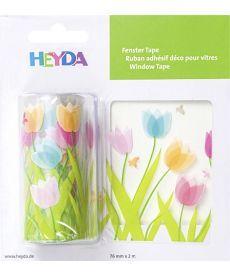 Лента самоклеющаяся для стеклянных поверхностей Тюльпани Прозрачная 7.6 смx2м Heyda