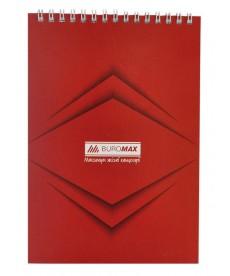 Записная книга блокнот Buromax Jobmax А5,48 л. клетка мяг. обл. спираль красный перф. BM.2474-05