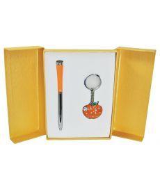 Набор подарочный Apple: ручка шариковая + брелок оранжевый