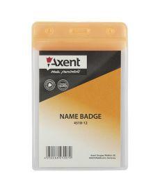 Бейдж вертикальний Axent 67х98мм матовый оранжевый 4518-12-A