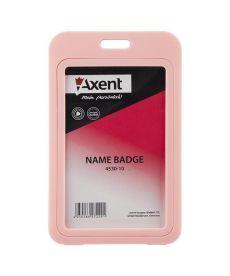 Бейдж вертикальний Axent 50х84мм PP в рамке глянцевый розовый 4530-10-A