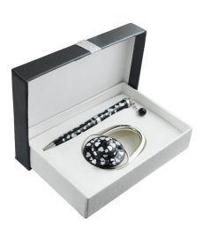 Набор подарочный Elegance: ручка шариковая + крючек д сумки чёрный