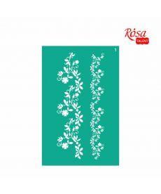 Трафарет многоразовый самоклеющийся Бордюрный 13x20 см №1 Серия Цветы