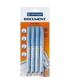 Маркер линер Document Centropen набор 4 шт пенал 2631/4/BL