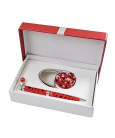 Набор подарочный Elegance: ручка шариковая + крючек д сумки красный