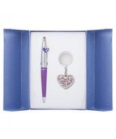 Набор подарочный Miracle: ручка шариковая + брелок синий