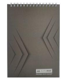 Записная книга блокнот Buromax Jobmax А5,48 л. клетка мяг. обл. спираль серый перф. BM.2474-09