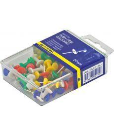 Кнопки-гвоздики цветные 50 шт. пластиковый контейнер