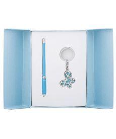Набор подарочный Night Moth: ручка шариковая + брелок синий