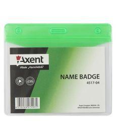 Бейдж горизонтальный Axent 100х70мм матовый зеленый 4517-04-A