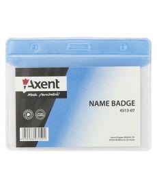 Бейдж горизонтальный Axent 83х52мм матовый голубой 4513-07-A