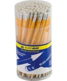 Карандаши графитные Buromax НВ желтый с ластиком BM.8500