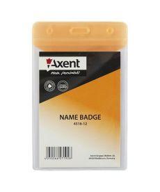 Бейдж вертикальний Axent 67х98мм глянцевый оранжевый 4516-12-A