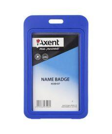 Бейдж вертикальний Axent 50х84мм PP в рамке глянцевый синий 4530-07-A
