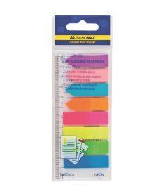 Закладки Buromax пластиковые NEON 45x12мм+42x12мм 8х25 листов ассорти BM.2307-98