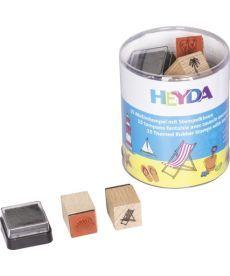 Штампы Heyda Отдых набор 15шт + штемпельная подушка 4005329105890
