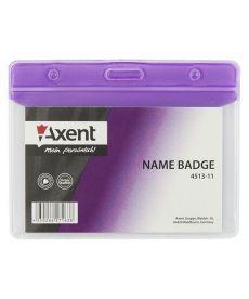 Бейдж горизонтальный Axent 83х52мм матовый фиолетовый 4513-11-A