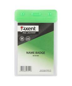 Бейдж вертикальний Axent 67х98мм матовый зеленый 4518-04-A