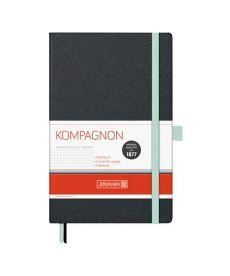 Записная книга блокнот Brunnen Компаньон черная с бирюзовым срезом А5 клетка 10-557 28 57