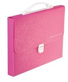 Портфель 35мм Buromax A4 210?297x35мм 1 отд. пластиковый замок Barocco розовый BM.3719-10