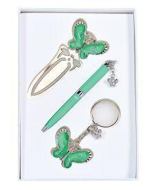 Набор подарочный Fly: ручка шариковая + брелок + закладка зеленый