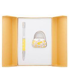 Набор подарочный Sense: ручка шариковая + крючек д сумки желтый