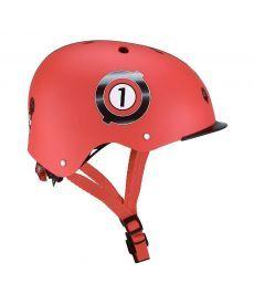 Шлем защитный детский GLOBBER, Гонки красный, с фонариком, 48-53см (XS/S)(507-102)