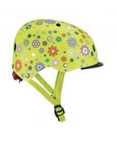 Шлем защитный детский GLOBBER, Цветы зеленый, с фонариком, 48-53см (XS/S)(507-106)