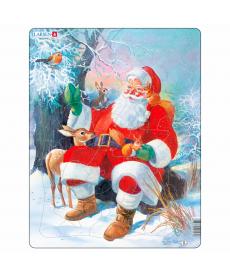 Пазл рамка-вкладиш LARSEN Дед Мороз в лесу серия МАКСИ