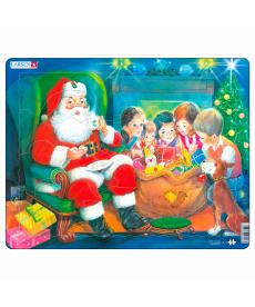 Пазл рамка-вкладиш LARSEN Дед Мороз с детьми серия МАКСИ