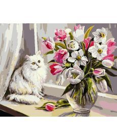 Картина по номерам Кот на подоконнике 40 х 50 см (AS0733)