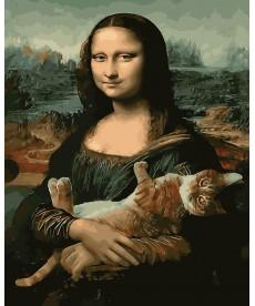 Картина по номерам Мона Лиза и кот 40 х 50 см (BK-GX29098)