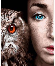 Картина по номерам Девушка и сова 40 х 50 см (BK-GX30916)