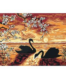 Картина по номерам Лебеди на закате 40 х 50 см (BK-GX32173)