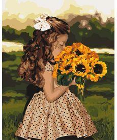 Картина по номерам Девочка с подсолнухами 40 х 50 см (KH4662)