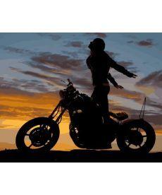 Картина по номерам Мотоциклистка 40 х 50 см (MR-Q2218)