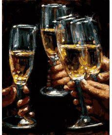 Картина по номерам Бокалы белого вина 40 х 50 см (MR-Q2220)