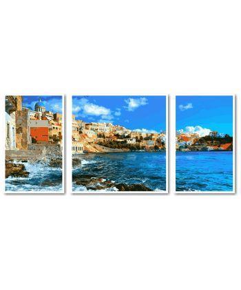 Картина по номерам Триптих. Греция Триптих 50 х 150 см (VPT049)