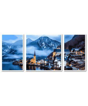 Картина по номерам Триптих. Зимняя Австрия Триптих 50 х 150 см (VPT051)