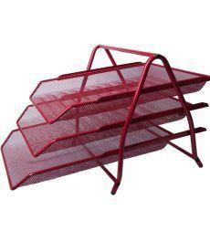 Лоток горизонтальный Buromax 3 в 1 металлический 350x270x270мм красный (BM.6252-05)