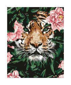Картина по номерам Тигр в цветах 40 х 50 см (КНО4172)
